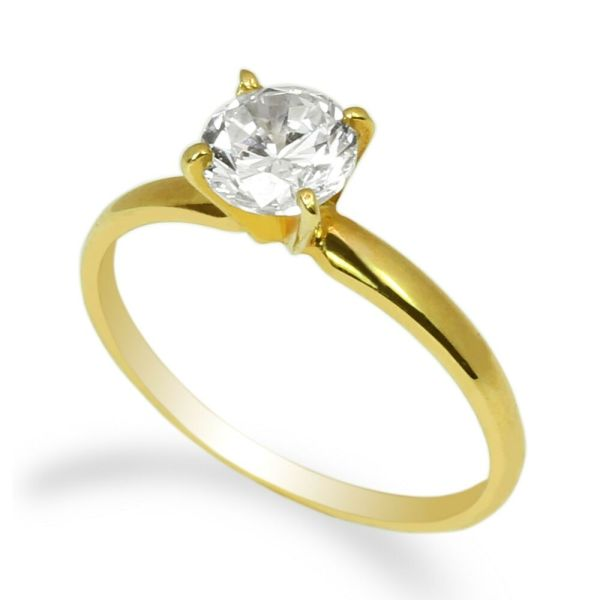 Ladies 10k Yellow Gold Solid Solitaire Ring 0.8ct Cz Center Clear