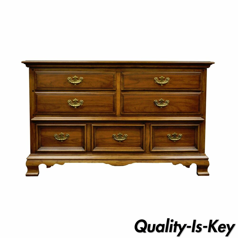 Vintage Kent Coffey Carriage Trade Cherry Pecan Double Dresser Chest Credenza  eBay
