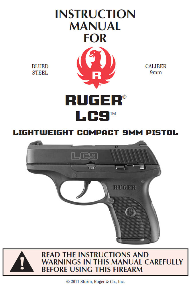 Ruger Lc9 9mm Pistol Owners Instruction And Maintenance