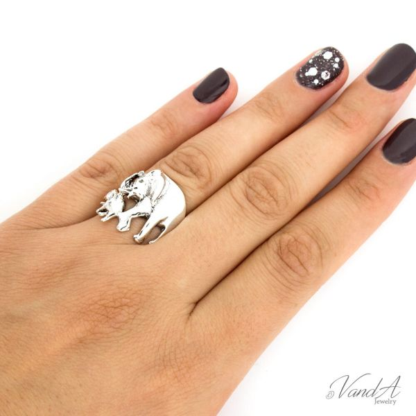 Sterling Silver 925 Elephant Ring Mother And Baby Walking R26