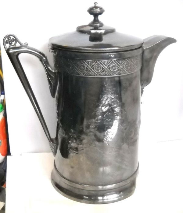"""Antique Silver Plated Ice Pitcher """" Reed & Barton Middle"""