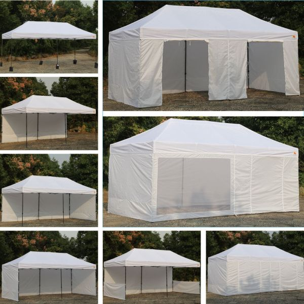 Abccanopy White 10 X 20 Easy Pop Canopy Party Tent With 9