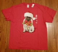 Mens XL XLARGE PUG CHRISTMAS T Shirt Dog Holiday Cute
