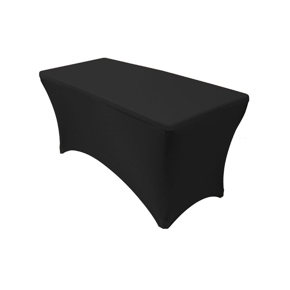fitted chair covers ebay high backed cushions spandex 4 ft rectangular table black |