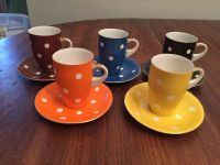 Set of 5 ~ Vintage Multi Colored Polka Dot Tea Cups and