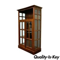 Mission Style 2 Door Open Glass & Solid Mahogany Bookcase ...