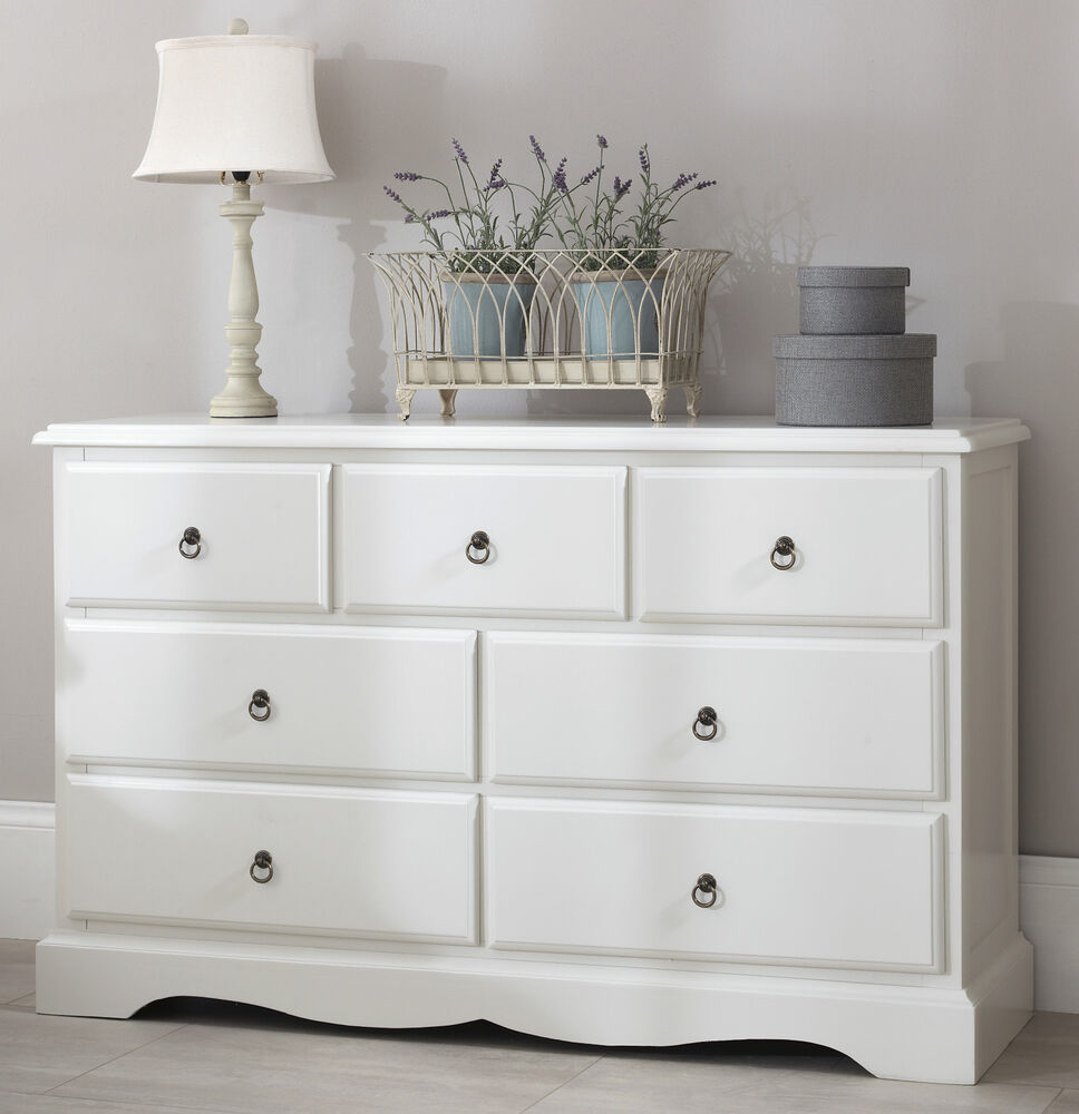 Romance Large White Chest Of Drawers French 7 Drawer