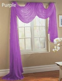 BRIGHT PURPLE SCARF SHEER VOILE WINDOW TREATMENT CURTAIN ...