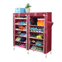 Red Double 7 Tier Dust Proof Shoe Rack Cabinet Storage
