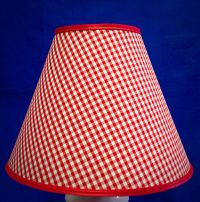 Red White Gingham Check Checks Lamp Shade Handmade