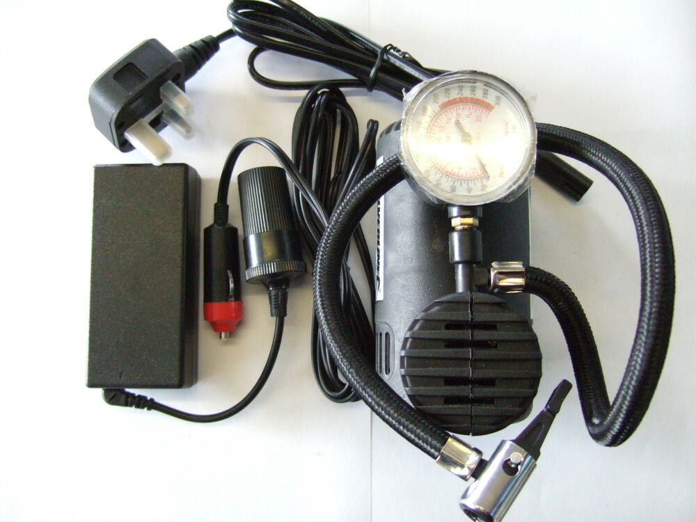 12V Air Compressor Tyre Inflator and Mains Power Supply