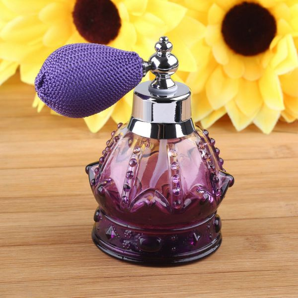 Purple Vintage Crystal Perfume Bottle Spray Atomizer Glass