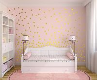 Set of 120 Metallic Gold Wall Decals Polka Dots Wall Decor