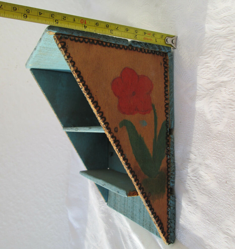 Antique primitive WOODEN handmade painted wall display