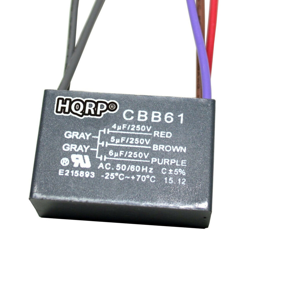 hight resolution of details about ceiling fan motor capacitor 250vac 2 5 wires models cbb61 replacement