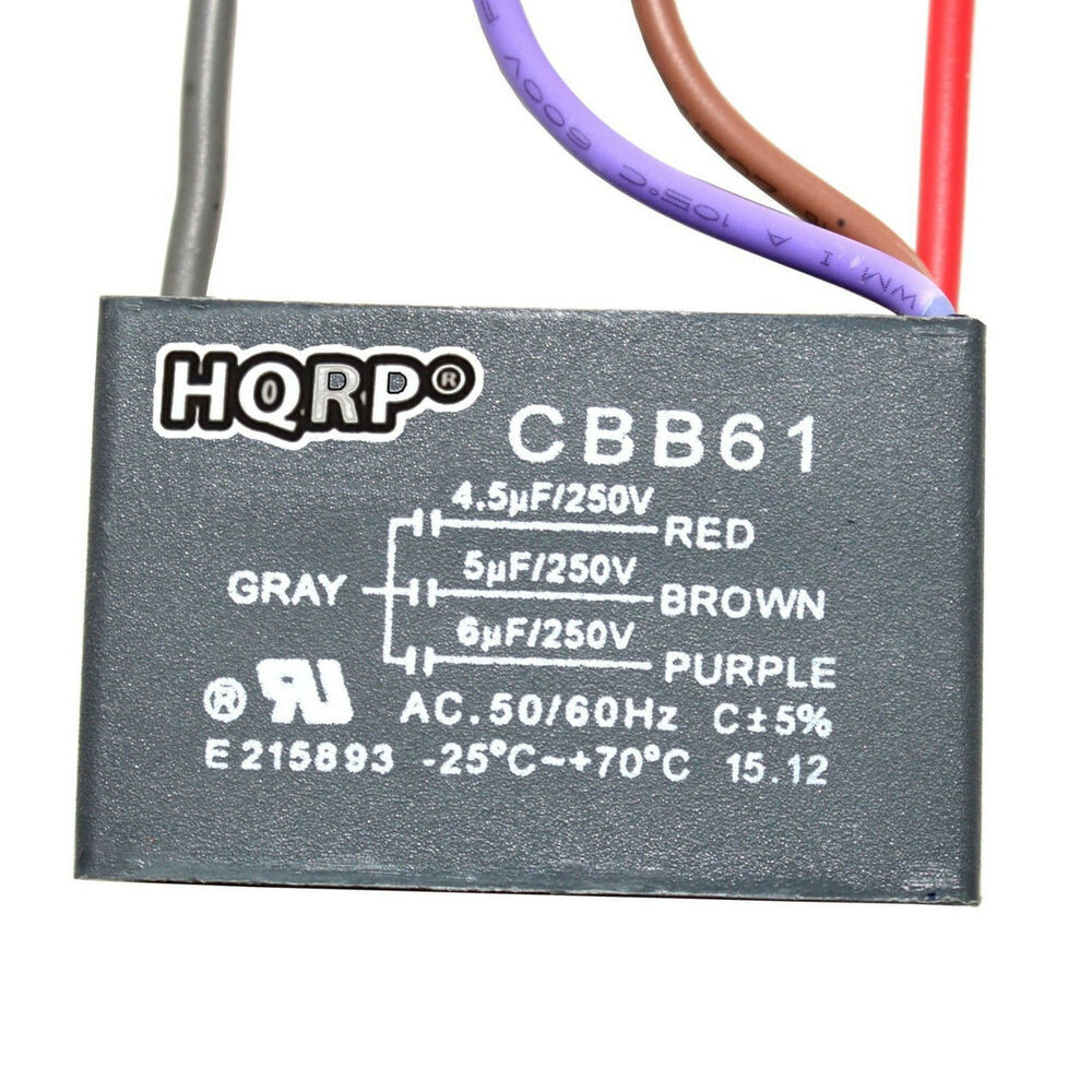 cbb61 fan capacitor wiring diagram discovery 2 ace for hampton bay ceiling 4.5uf+5uf+6uf 4-wire replacement 884667361830 | ebay