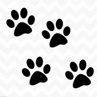 Dog paw prints vinyl wall stickers decals set of 4 suit ...