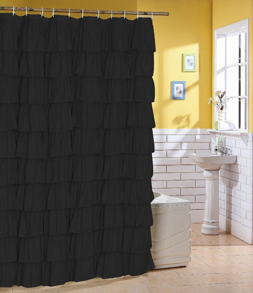 Ruffle Fabric Shower Curtain Color BLACK  eBay