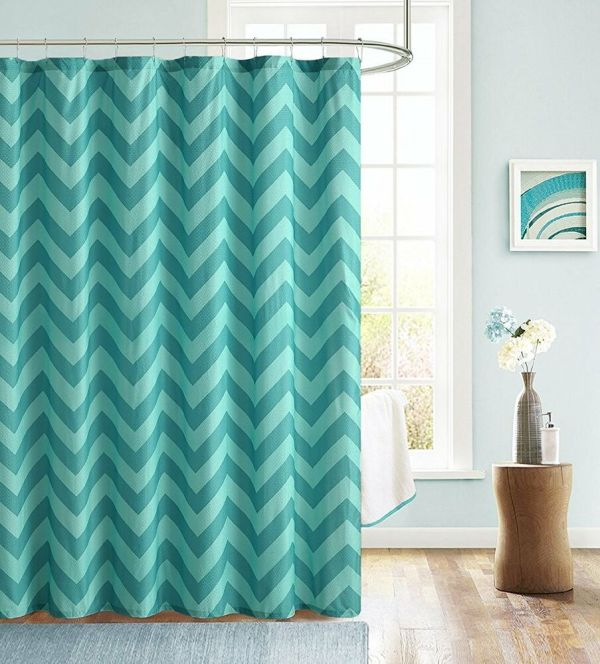 Blue and Teal Chevron Shower Curtain