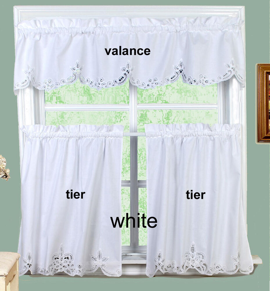 White Battenburg Lace Kitchen Curtain Valance or Tiers