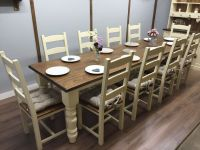 10 12 Seater LARGE FARMHOUSE DINING TABLE 10 CHAIRS OAK ...