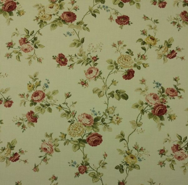Waverly Seaside Rose Sage #d4003 Green Small Check Floral