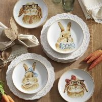 "Pier 1 Imports Easter Bunny Faces 8"" Salad Plates Set of 4 ..."