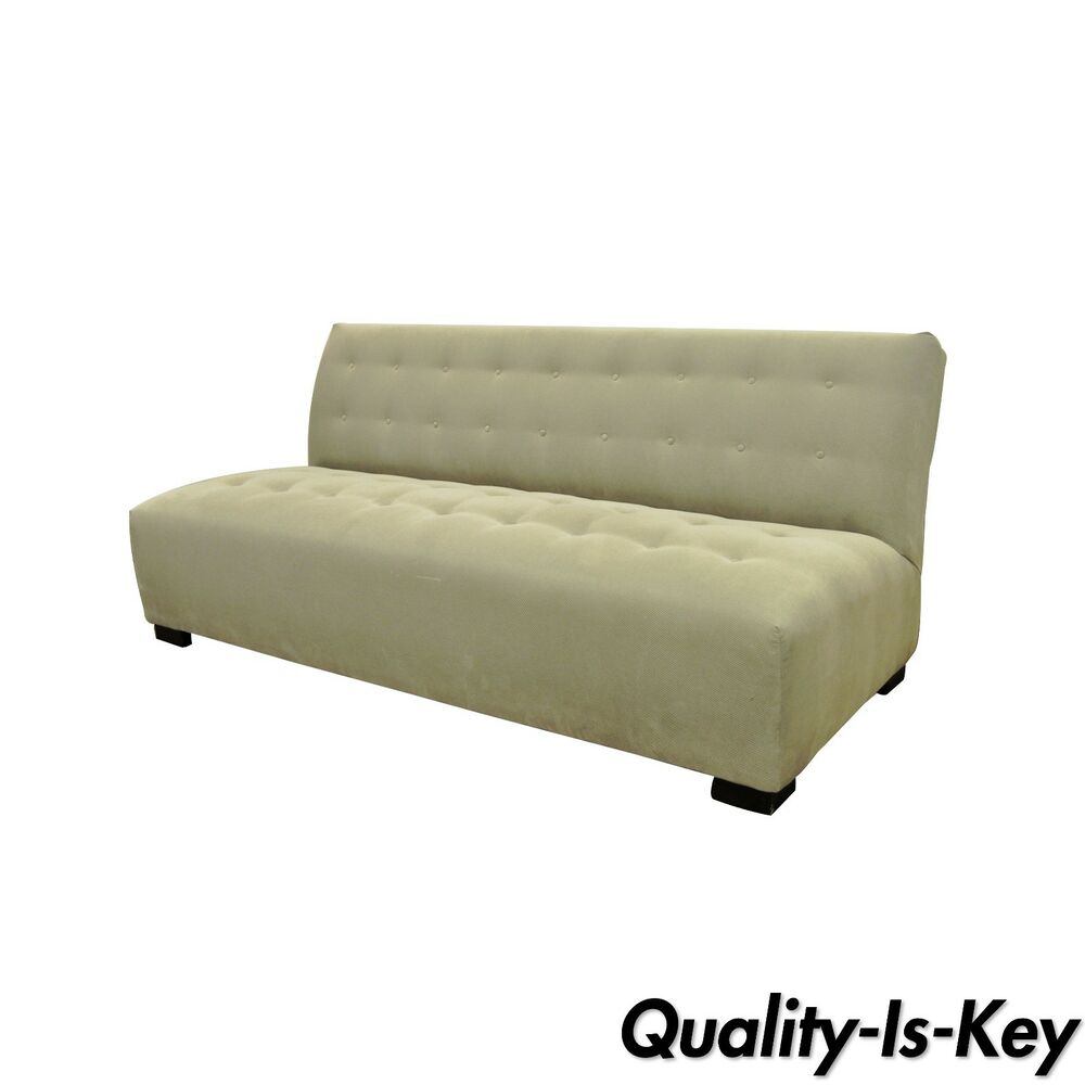 armless sofas leather uk sale crate barrel mitchell gold modern plus sofa loveseat couch details about 336 003t 20