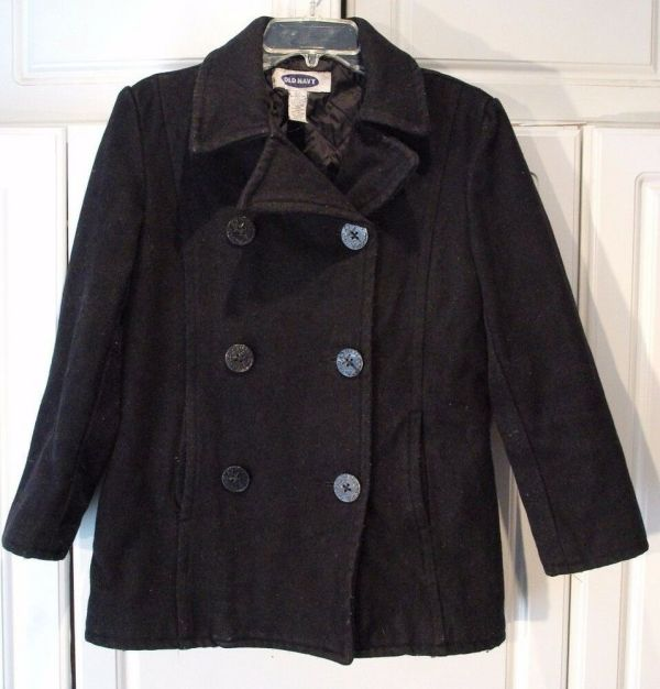 Womens Navy Double Breasted Black Wool Blend Pea Coat