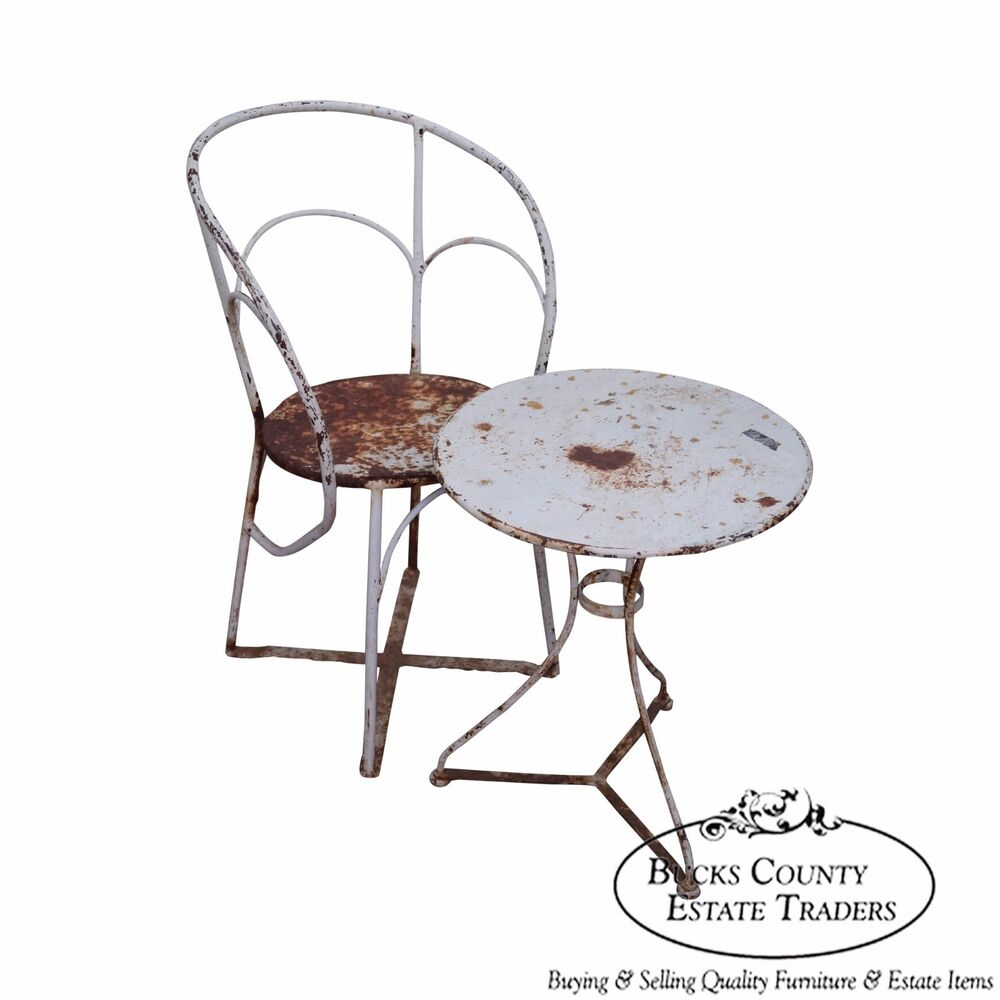 Antique French Art Deco Iron Garden Chair Side Table Ebay