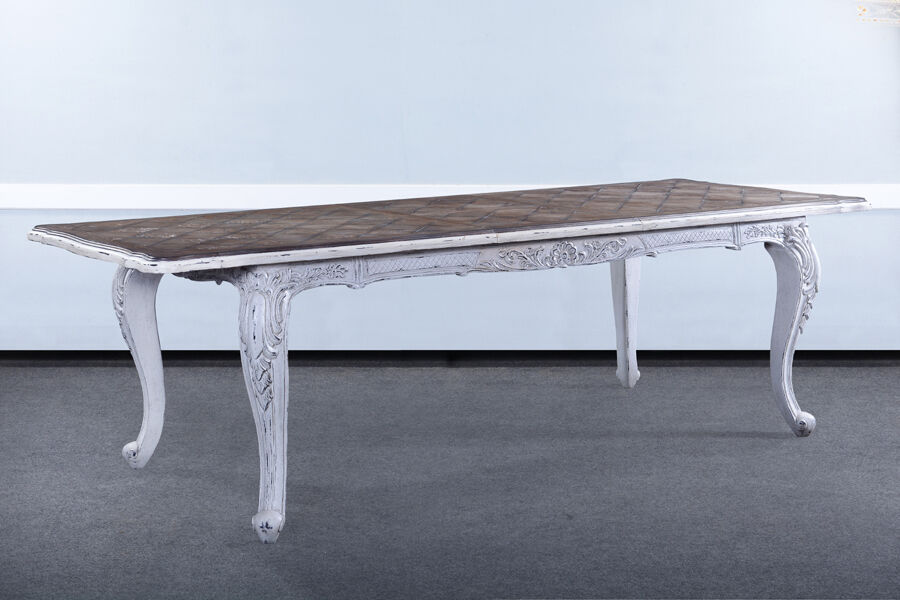 French Handcarved Distressed White Extension Dining Table 102 With Leaves BG EBay