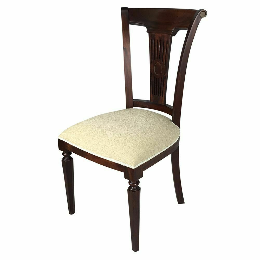 Solid Mahogany Wood Royal Upholstered Dining Chair Antique