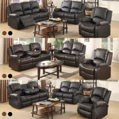 3 2 Leather Sofa Set Sofas That Are Good For Your Back Recliner Loveseat Couch 1 Seater Living Room Detalles Acerca De Furniture