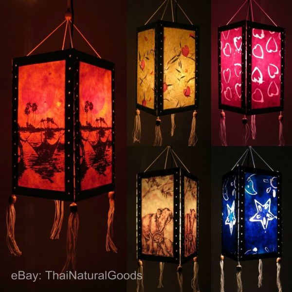 Asian Oriental Hanging Lampshade Lamp - Home Garden