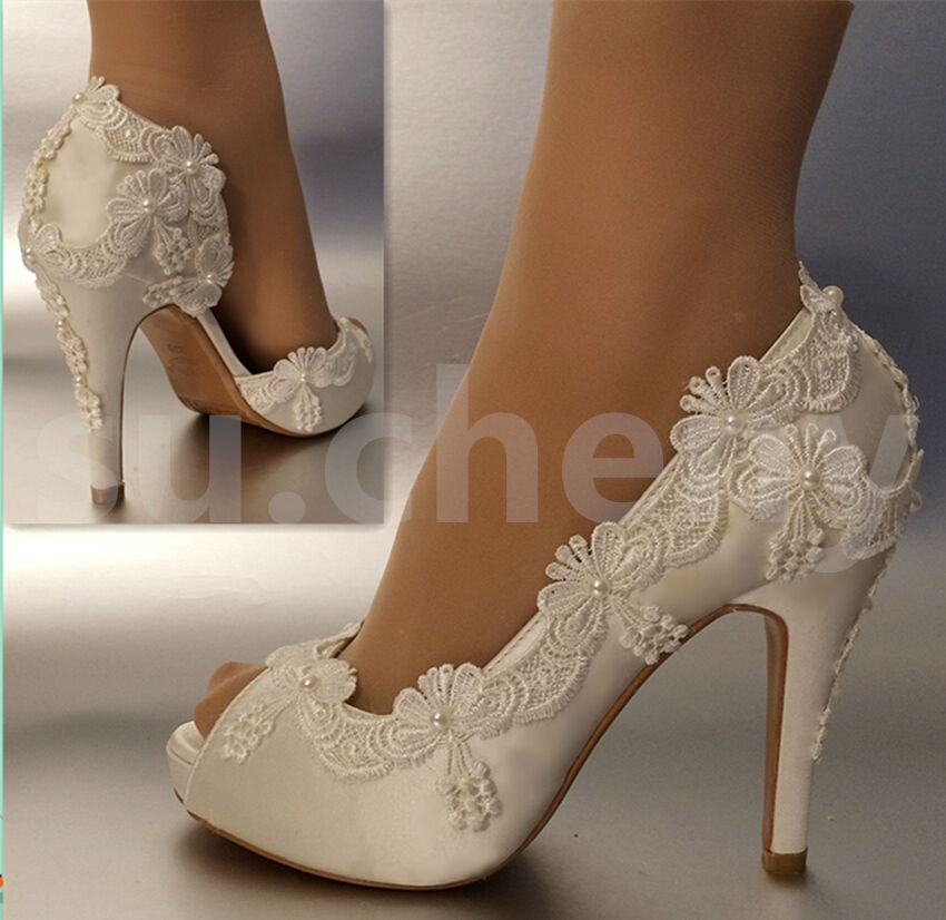 34 heel satin white ivory lace pearls open toe Wedding