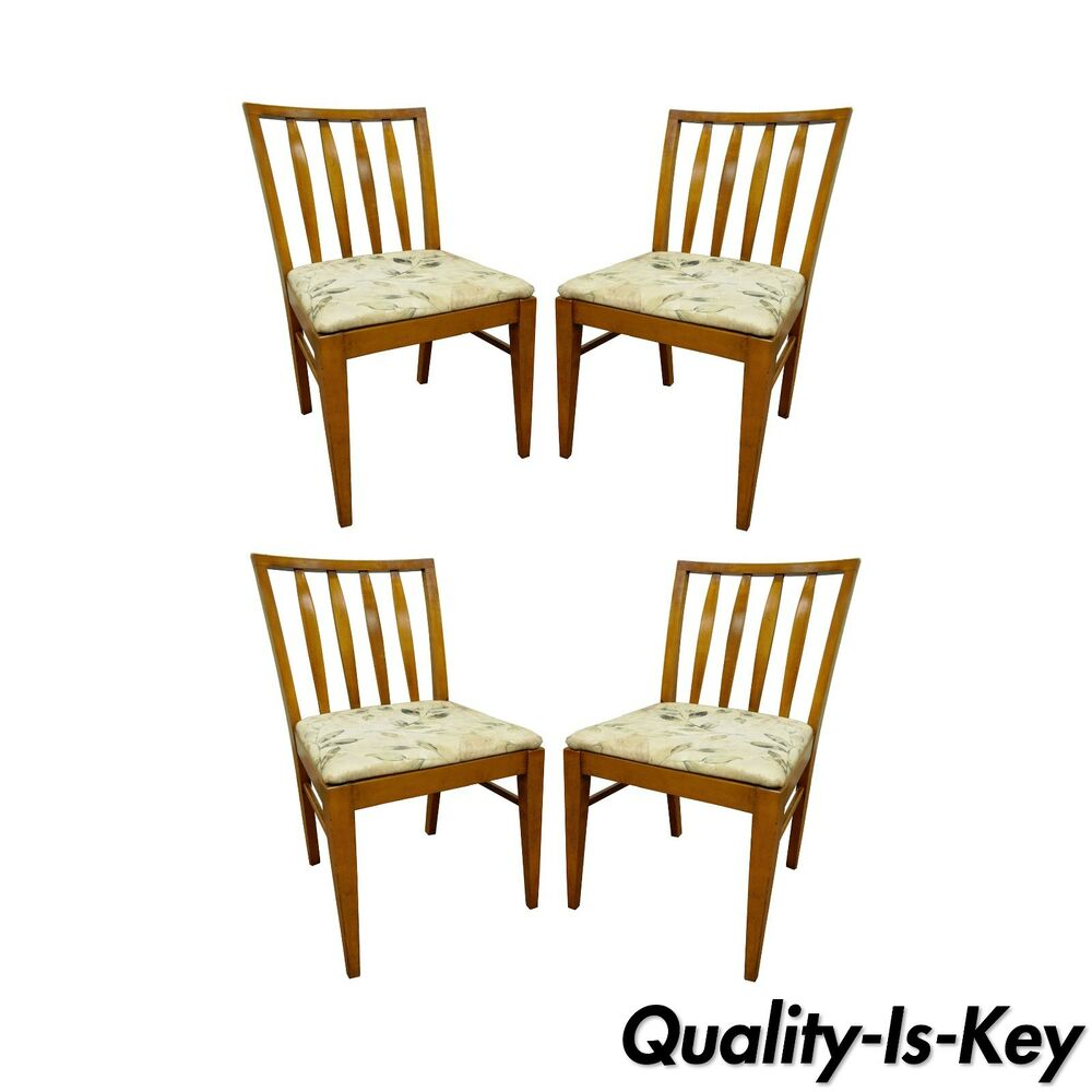 Paul Mccobb Chairs 4 Vintage Mid Century Modern Maple Slat Back Dining Chairs Paul Mccobb Style Ebay