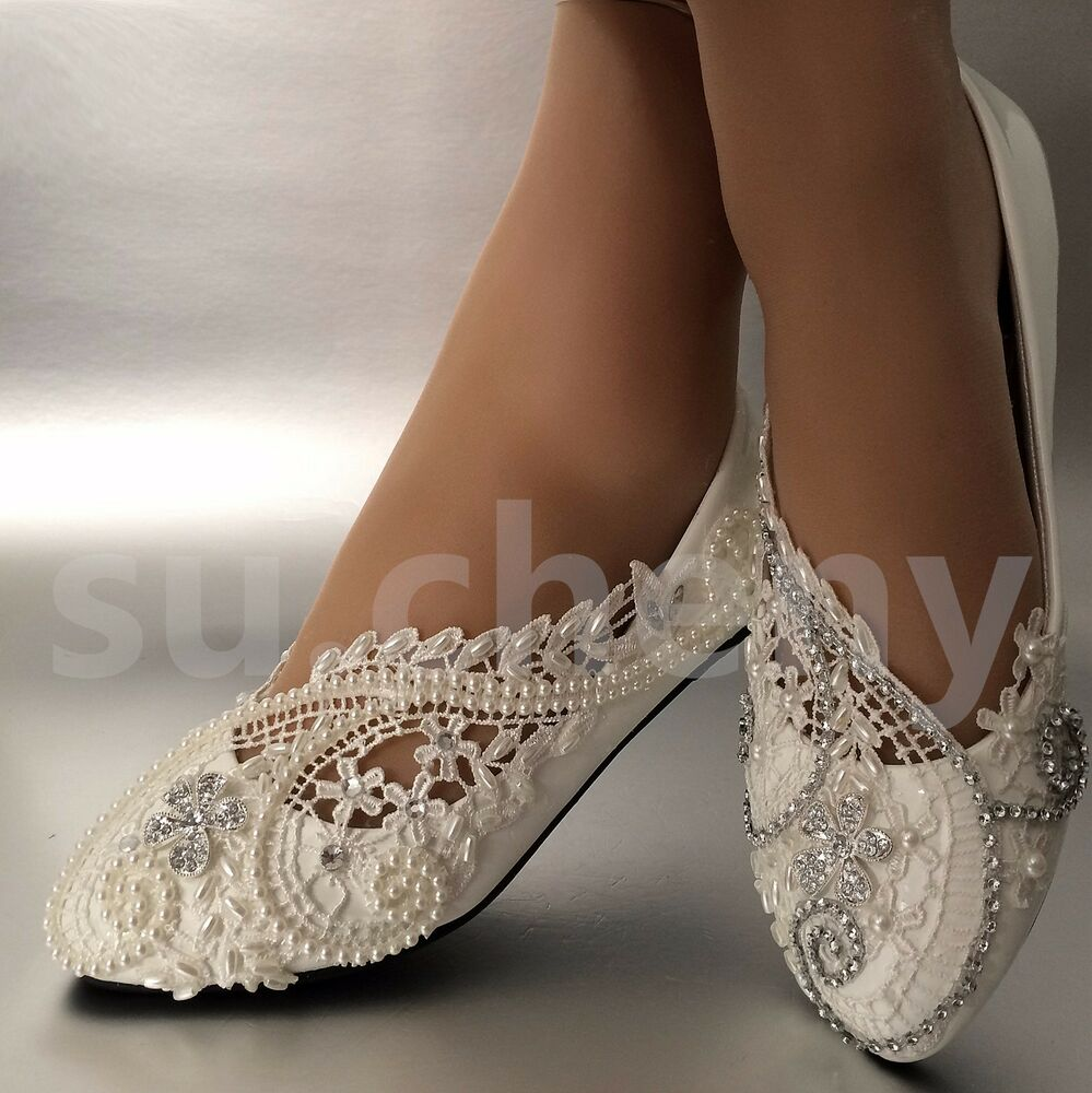 White  ivory pearls lace crystal Wedding shoes flat