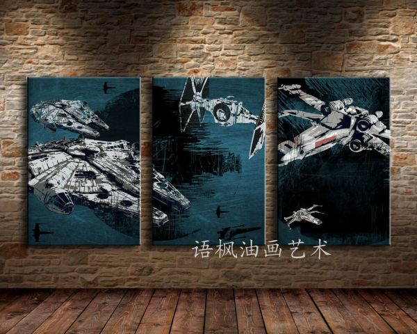 Hd Print Portrait Oil Painting Wall Decor Art Canvas Star Wars Ships 3pc
