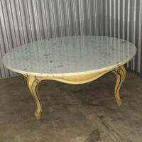 "Vintage French Provincial 40"" Round Marble Top Coffee ..."