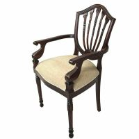 Solid Mahogany Wood Upholstered Carver Chair Antique Hyper ...