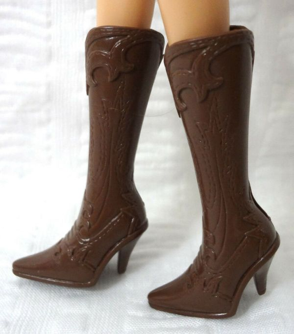 Barbie Scene Doll Shoes Cowboy Boots Tall Brown Western