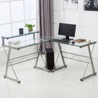 L-Shape Corner Computer Desk PC Glass Laptop Table ...