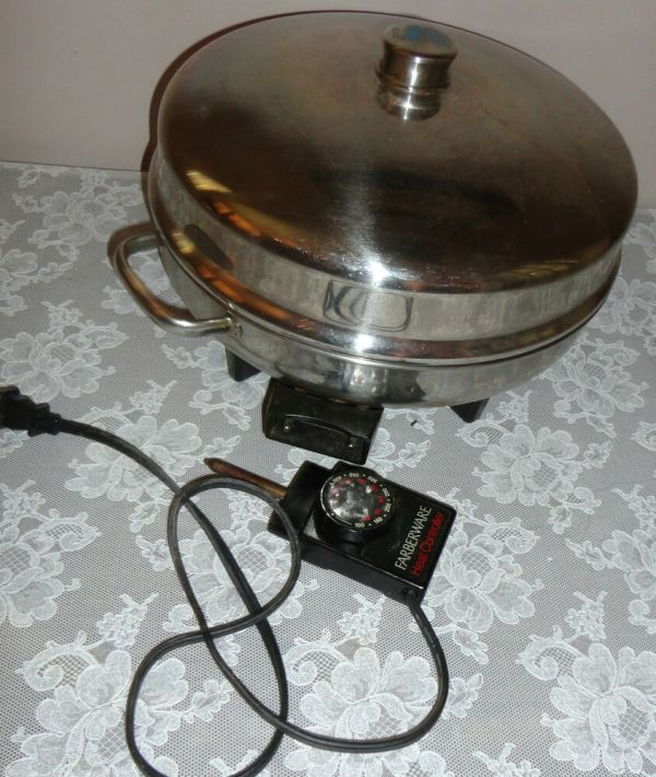 Vintage Electric Farberware Stainless Steel Covered