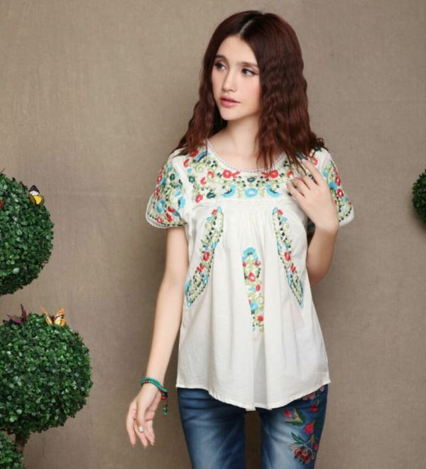Ethnic Mexican Hippy Boho Floral Beach Indian Top Blouse