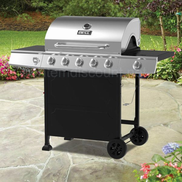 Stainless Steel 5 Burner Side Natural Gas Grill Barbecue Bbq Pit 6 4 3 Portable
