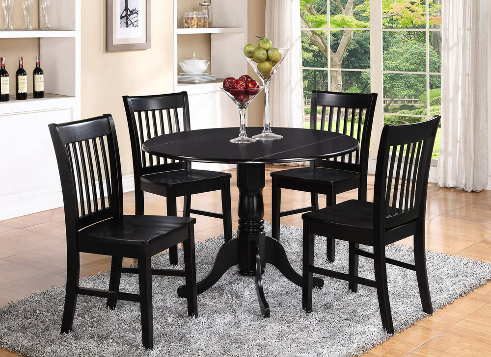 DLNO5BLKW 5 Pieces small kitchen table setround kitchen table and 4 chairs  eBay