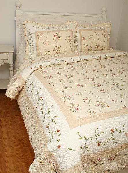 Queen Quilt French Country Embroidered Tea Rose Rosebuds