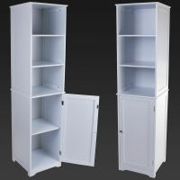TALL BOY STORAGE CABINET WHITE WOODEN BATHROOM CABINET