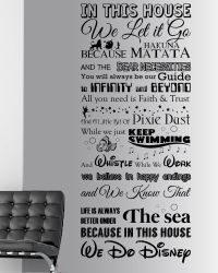 We Do Disney Style Quote In This House Rules Vinyl Wall ...
