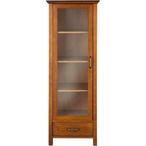 Bathroom Linen Cabinet Tall Tower Oak Wood Organizer